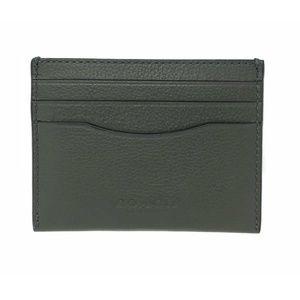 Coach Men's Card Case Sport Calf Green Wallet
